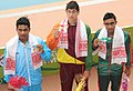 Matthew Abeysinghe (SRI LANKA) won Gold Medal, Sanam Debnath (INDIA) won Silver Medal and Md Juwel Ahmed (BANGLADESH) won Bronze Medal in Men's 200m Medley Swimming, at the 12th South Asian Games-2016, in Guwahati.jpg