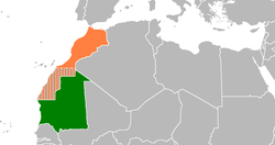 Map indicating locations of Mauritania and Morocco