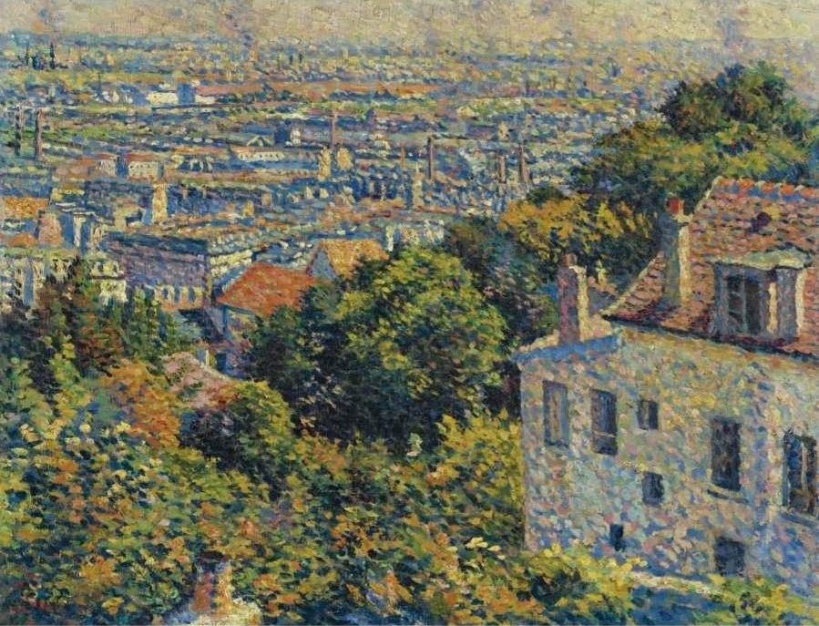 Maximilien Luce - 'Montmartre, de la rue Cortot, vue vers saint-denis', oil on canvas painting, c. 1900