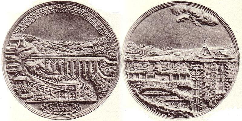 File:Medaille 1690 von Omeis, zur Ausbeutezahlung an die Gewerke der Fundgrube St. Anna.JPG