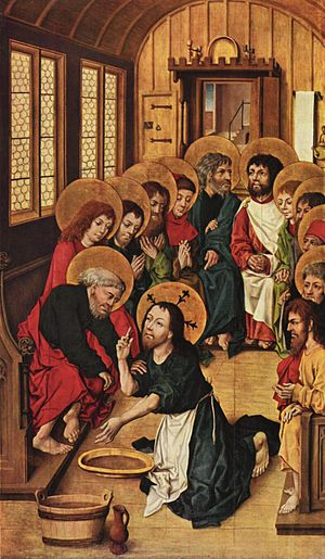 Foot washing - Christ Washing the Feet of the Apostles by Meister des Hausbuches, 1475 (Gemäldegalerie, Berlin).