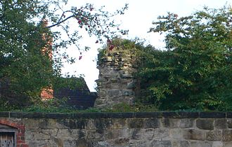 Melbourne Castle - End view of the surviving wall section