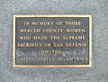 Memorial plaque to women, Merced County Veterans Memorial, California - 20060409.jpg