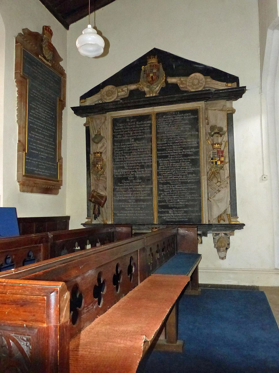 Memorial to Robert Bertie, 1st Earl of Lindsey, and his son Montague