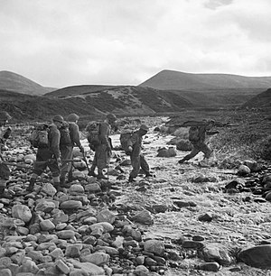 52nd (Lowland) Infantry Division - Men of the 5th Battalion, Highland Light Infantry training in the mountains near Inverness, Scotland, 22 October 1942.