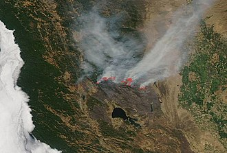 Mendocino Complex Fire - Satellite image of the Ranch Fire on August 15, 2018.