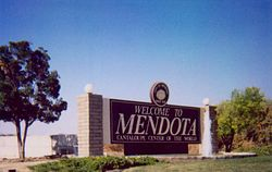 Welcome sign at south end of Mendota along Highway 180