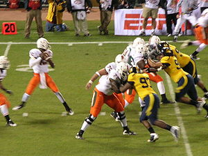 2008 Miami Hurricanes football team - Hurricanes' quarterback looks to pass at the 2008 Emerald Bowl