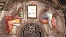 Michelangelo, lunetta, Rehoboam - Abijah 01.jpg