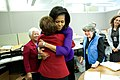 Michelle Obama greets women who work in the White House Correspondence Office, 2009.jpg