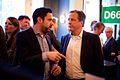 Michiel Verkoulen (l) en Alexander Pechtold (r) bij de nieuwjaarsborrel van D66 Utrecht.jpg