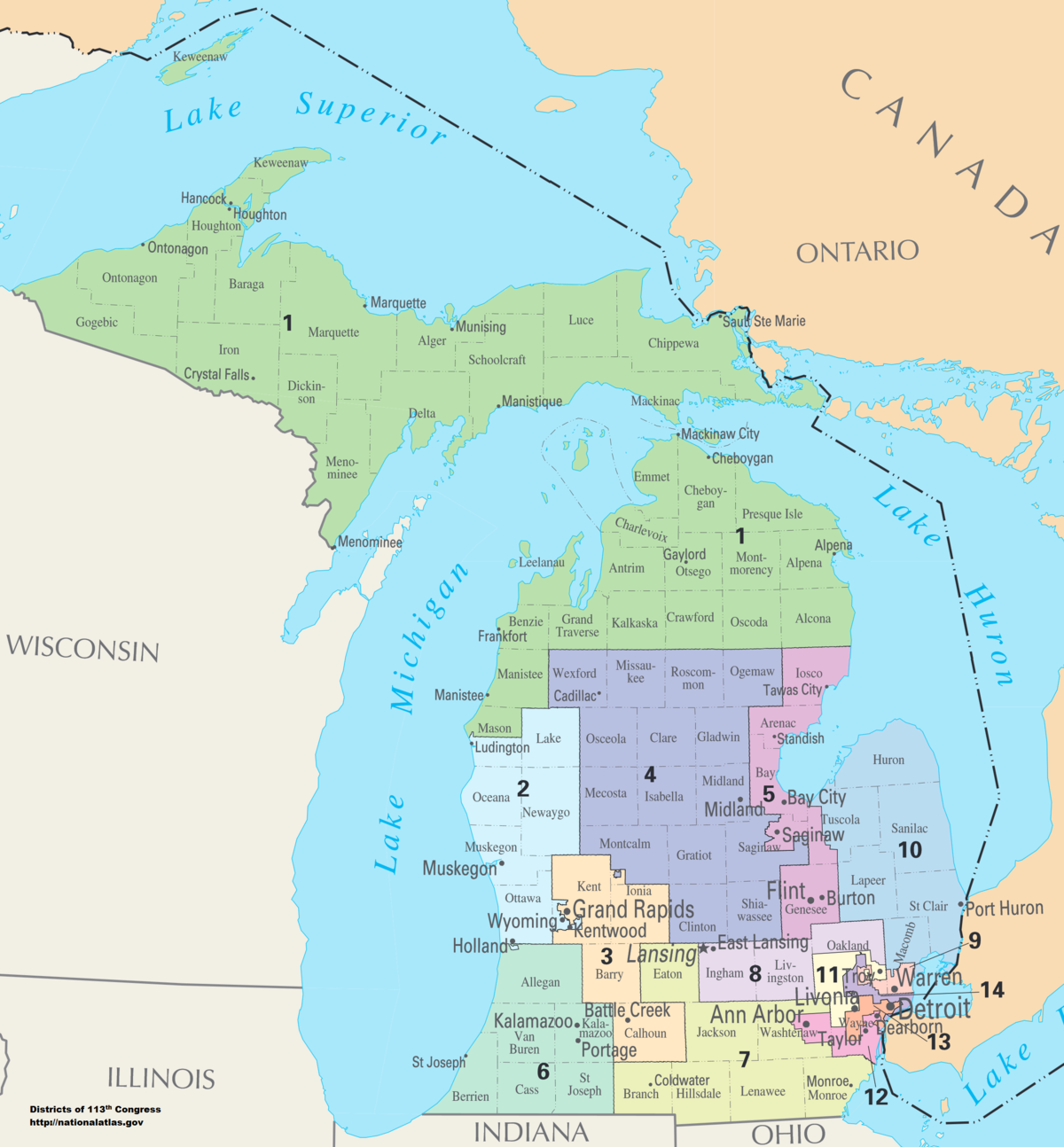 Michigan\'s congressional districts - Wikipedia