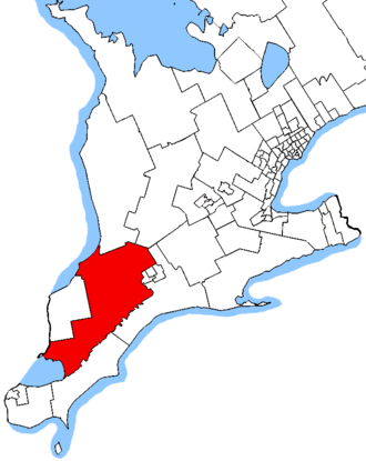Lambton—Kent—Middlesex - Lambton—Kent—Middlesex in relation to other southern Ontario electoral districts