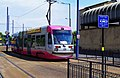 Midland Metro tram no. 09 approaching St. Georges, Bilston Street, Wolverhampton, geograph-4026993-by-P-L-Chadwick.jpg