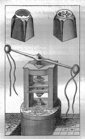 Milled coinage - A mill for the production of 'milled' coins with both coin dies illustrated.