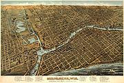 Milwaukee birdseye map by Bailey (1872). loc call no g4124m-pm010450