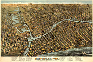 Milwaukee - Illustrated map of Milwaukee in 1872