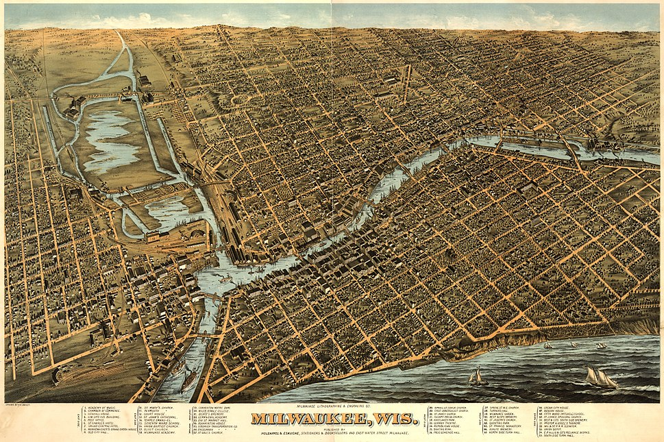 Milwaukee birdseye map by Bailey (1872). loc call no g4124m-pm010450