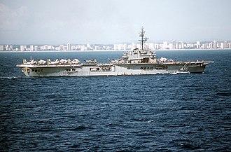 Brazilian aircraft carrier Minas Gerais - Minas Gerais underway in 1984