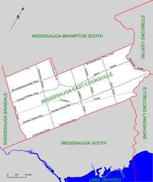 Mississauga East—Cooksville - Map of Mississauga East-Cooksville (2003 boundaries)