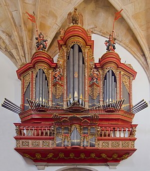 Pipe organ - Baroque pipe organ of the 18th century at Monastery of Santa Cruz, Coimbra, Portugal
