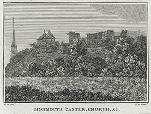 Monmouth Castle - Monmouth Castle and St Mary's Priory Church, black and white print on engraving, 1800