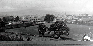 Monmouth Gasworks - Monmouth in 1900 with gasworks in foreground