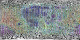 Laser - Lidar measurements of lunar topography made by Clementine mission.