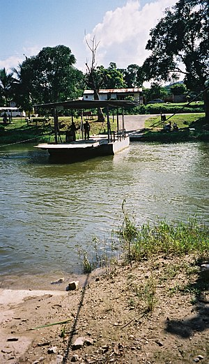 Mopan River - Hand-cranked ferry on Mopan River in Belize