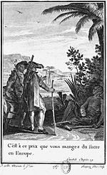 Illustration from Candide depicting the scene where Candide and Cacambo meet a maimed slave of a sugar mill near Surinam