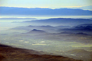 Aerial view of southern Santa Clara Valley, in...