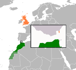 Map indicating locations of Morocco and United Kingdom