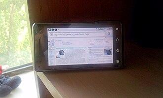 Motorola Milestone XT720 - Image: Motorola Milestone XT720 front horizontal