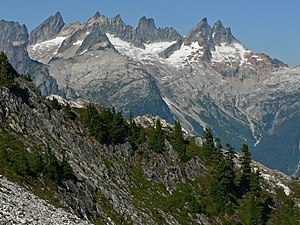 North Cascades National Park - Mount Terror (left skyline), Inspiration Peak (center) and McMillan Spires (right center) from the south are peaks found in the Picket Range