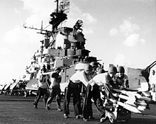 Moving rockets aboard USS Hancock (CV-19), October 1944.jpg