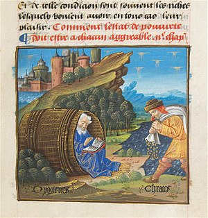 "Crates of Thebes - ""Diogenes in his barrel and Crates of Thebes who gives up wealth for virtue."" 15th-century manuscript."