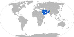 PAC MFI-17 Mushshak - Map with military PAC Mushshak operators in blue
