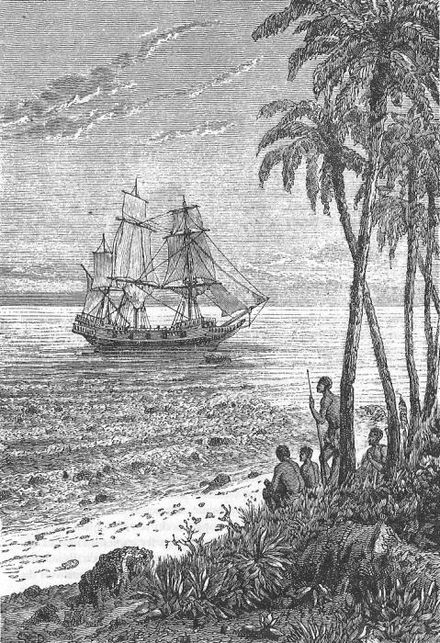 "Original illustration by S. Drée from French author Jules Verne's story ""The Mutineers of the Bounty"" (Les Révoltés de la Bounty) (1879). Mutineers of the Bounty by Jules Verne, illustration by Leon Bennett.jpg"