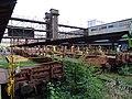 Nákladové nádraží Žižkov, kolejiště a lávky s výtahy.jpg
