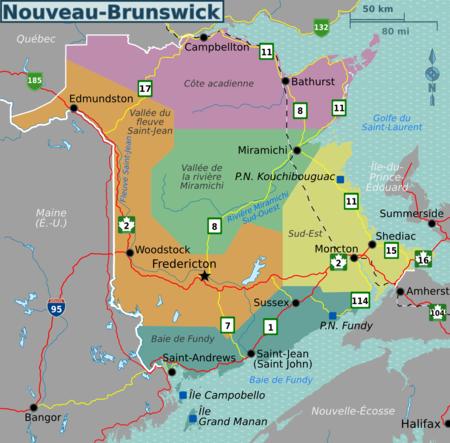 Carte Canada Nouveau Brunswick.Nouveau Brunswick Wikivoyage Le Guide De Voyage Et De