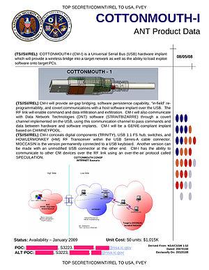 NSA ANT catalog - COTTONMOUTH-I