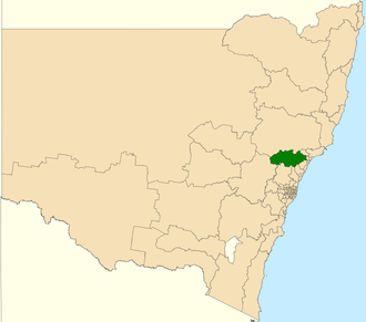 Electoral district of Cessnock - Location in New South Wales