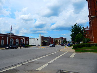 Warsaw (village), New York - Downtown Warsaw along NY 19 in June 2015.