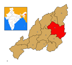 Tuensang district's location in Nagaland