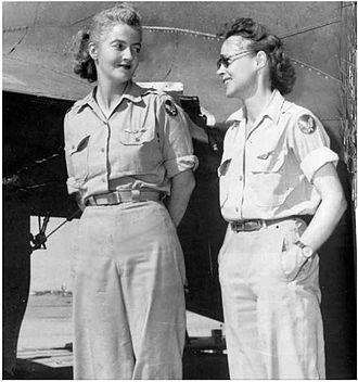 "Nancy Harkness Love - Nancy Love, pilot (left), and Betty (Huyler) Gillies, co-pilot, the first women to fly the Boeing B-17 Flying Fortress heavy bomber. The two WAFS were set to ferry a B-17 named ""Queen Bee"" to England when their flight was canceled by General Hap Arnold."