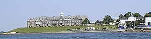 Naval War College - The Naval War College. The original Newport Asylum building can be seen on the far right, now housing the Naval War College Museum. The larger building on the left is Luce Hall.
