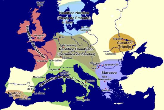 Mapa de la expansión del cambio neolítico
