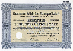 English: Stock certificate of Neudammer Hutfab...