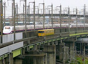 New Shuttle - A New Shuttle train alongside the Tohoku Shinkansen in May 2009