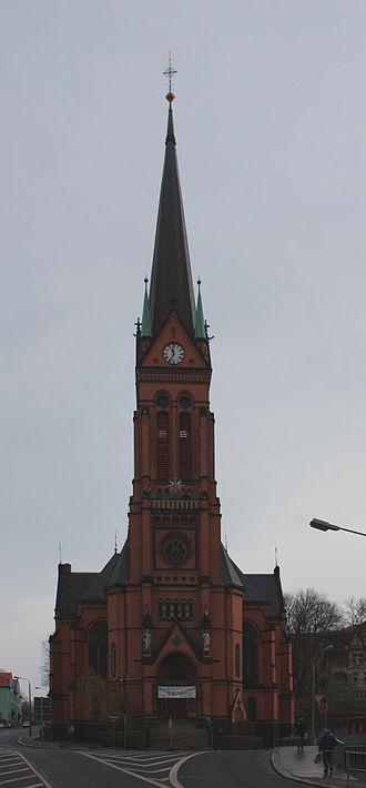 St. Nicholas' Church, Aue - St. Nicholas' Church: west tower and main door
